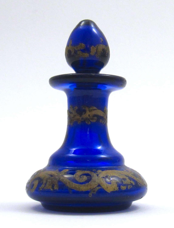 Antique Miniature Bohemian Cobalt Blue Perfume Bottle