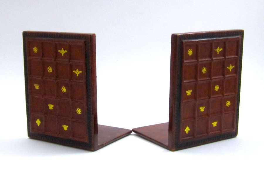 Pair of VintageLeather Book Ends with Gold Stamped Design