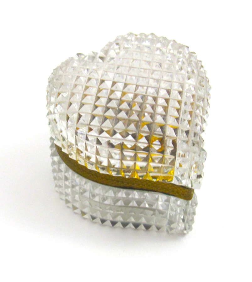 Antique French Cut Crystal Heart Shaped Casket