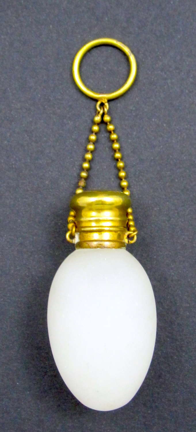 Antique French White Opaline Glass Perfume Bottle and Chatelaine