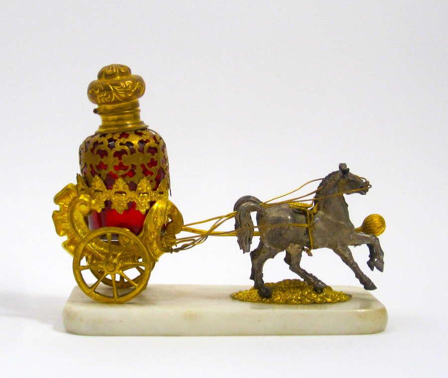 Antique Palais Royal Dore Bronze Carriage and Ruby Perfume Set