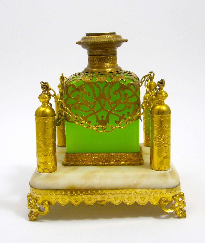 A Large Palais Royal GreenOpaline Glass Perfume Bottle Set
