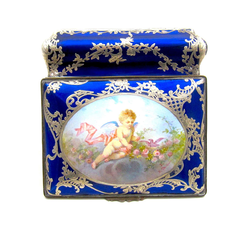 Exquisite Antique French Enamelled Cherub Casket Box