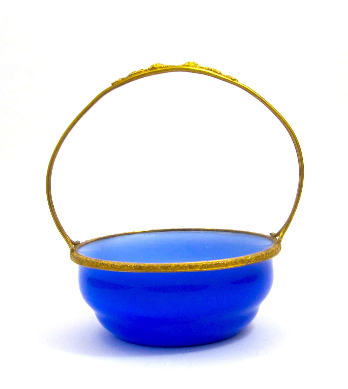Antique French Dark Blue Opaline Glass Basket