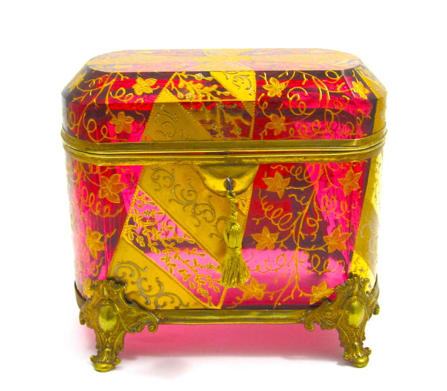 Very Large Antique MOSER Cranberry Casket Decorated with Gold Enamel