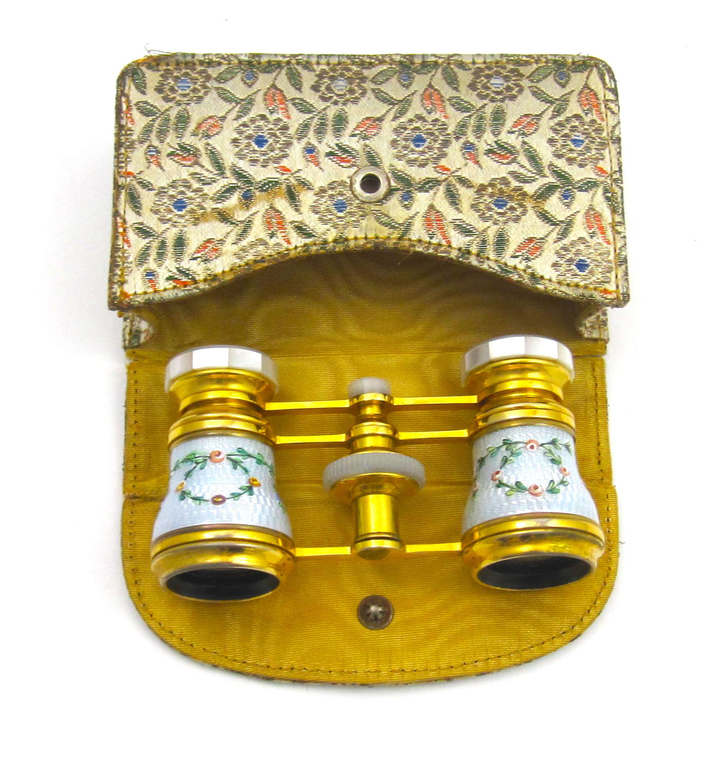 Pair of Antique French Enamel Opera Glasses and Case