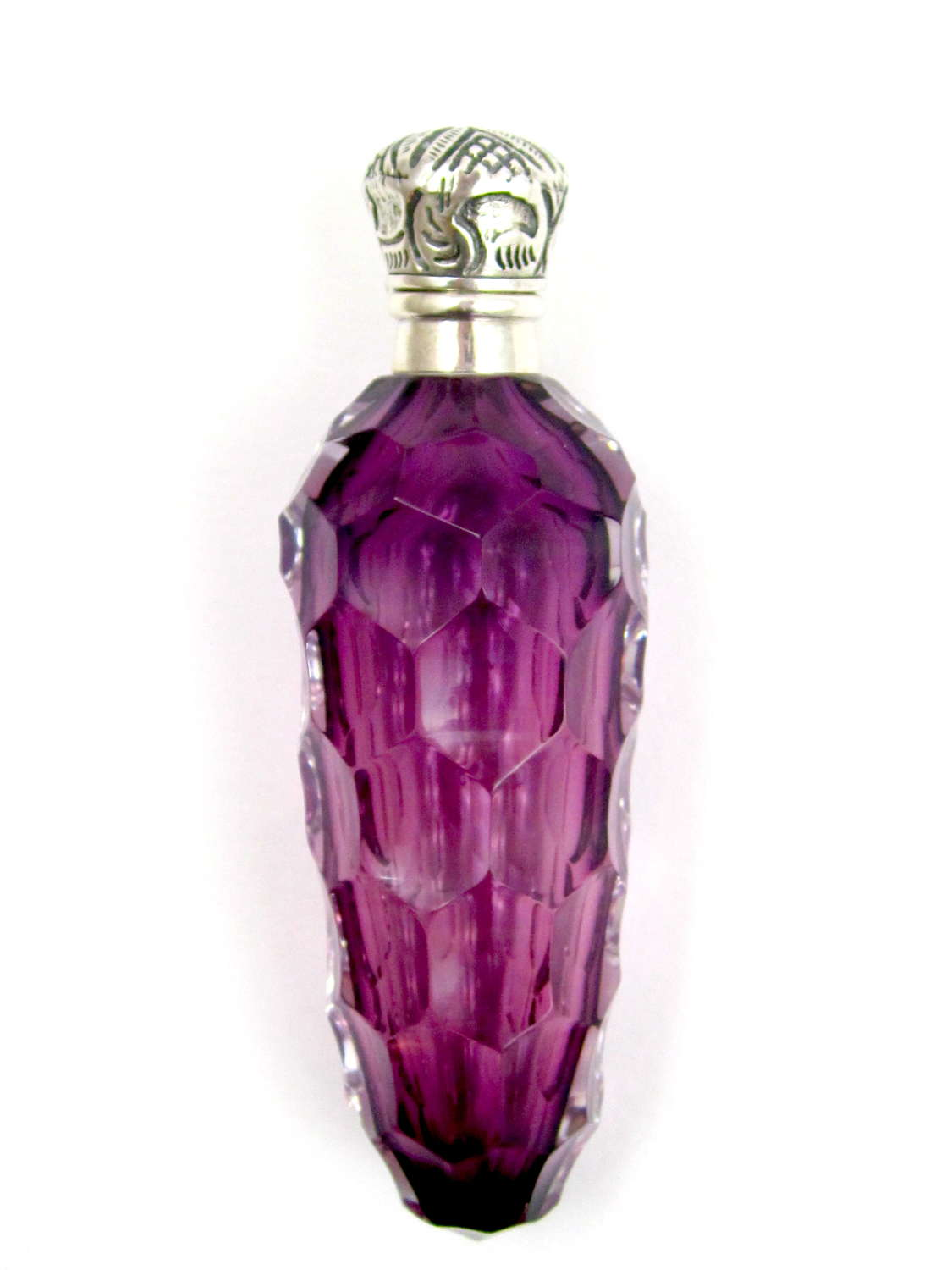 Antique French Amethyst Glass Honeycomb Perfume Bottle
