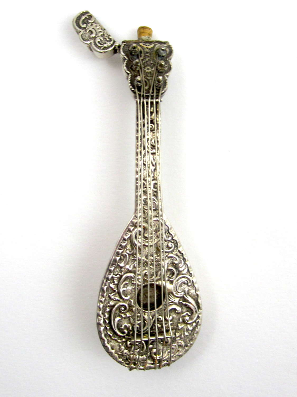 Rare Antique Dutch Silver Mandolin Perfume Bottle with Cherubs