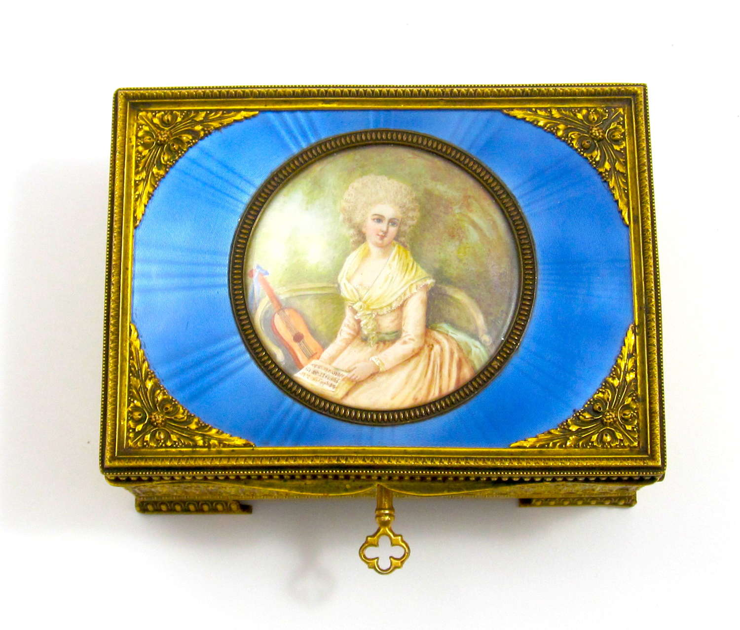 High Quality French Enamel Guillouche Box with Signed Miniature