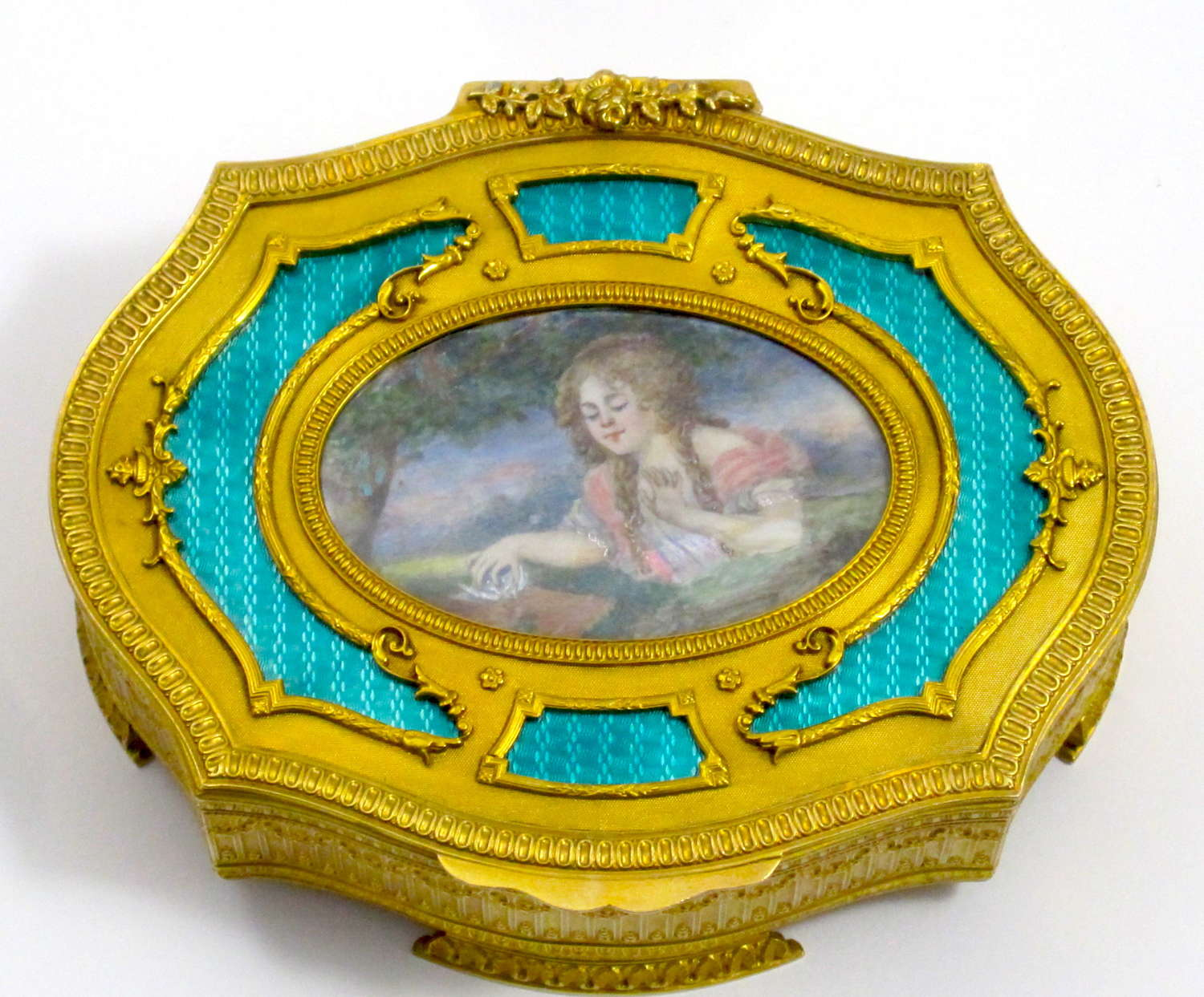 High Quality French Turquoise Guilloche Enamel Jewellery Box