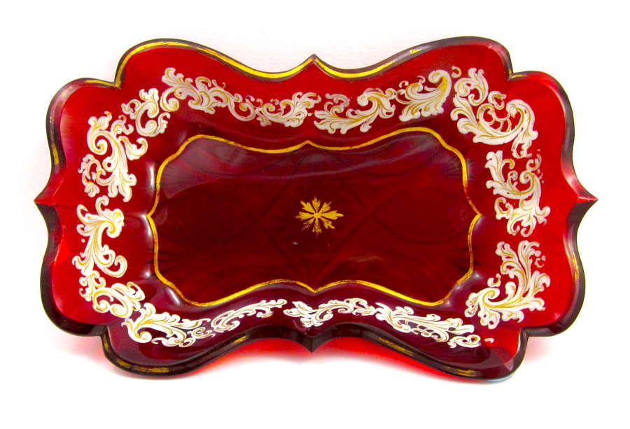 Small Antique Bohemian Deep Ruby Red Glass Gold Enamelled Dish