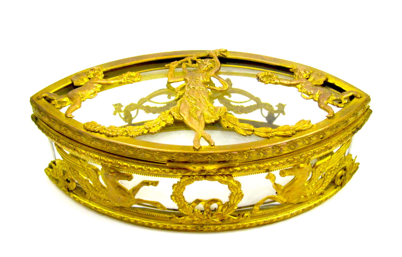 Antique French Empire Lozenge ShapedCut Crystaland Dore Bronze Box