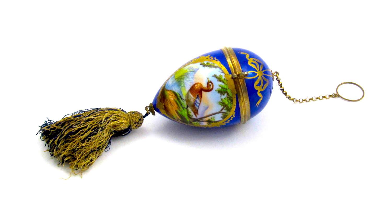 Large Antique Palais Royal Porcelain Egg Chatelaine