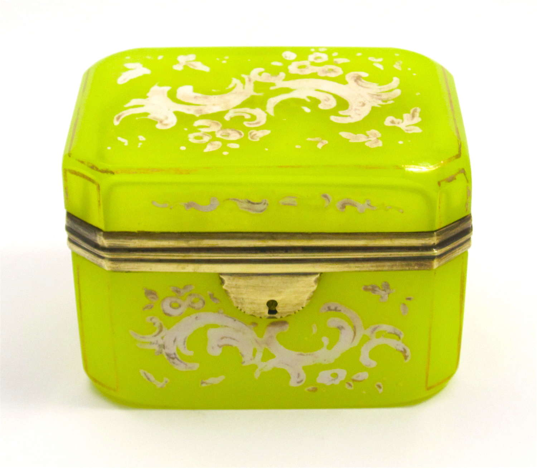 Rare Antique Bohemian Yellow Opaline Glass Casket Box