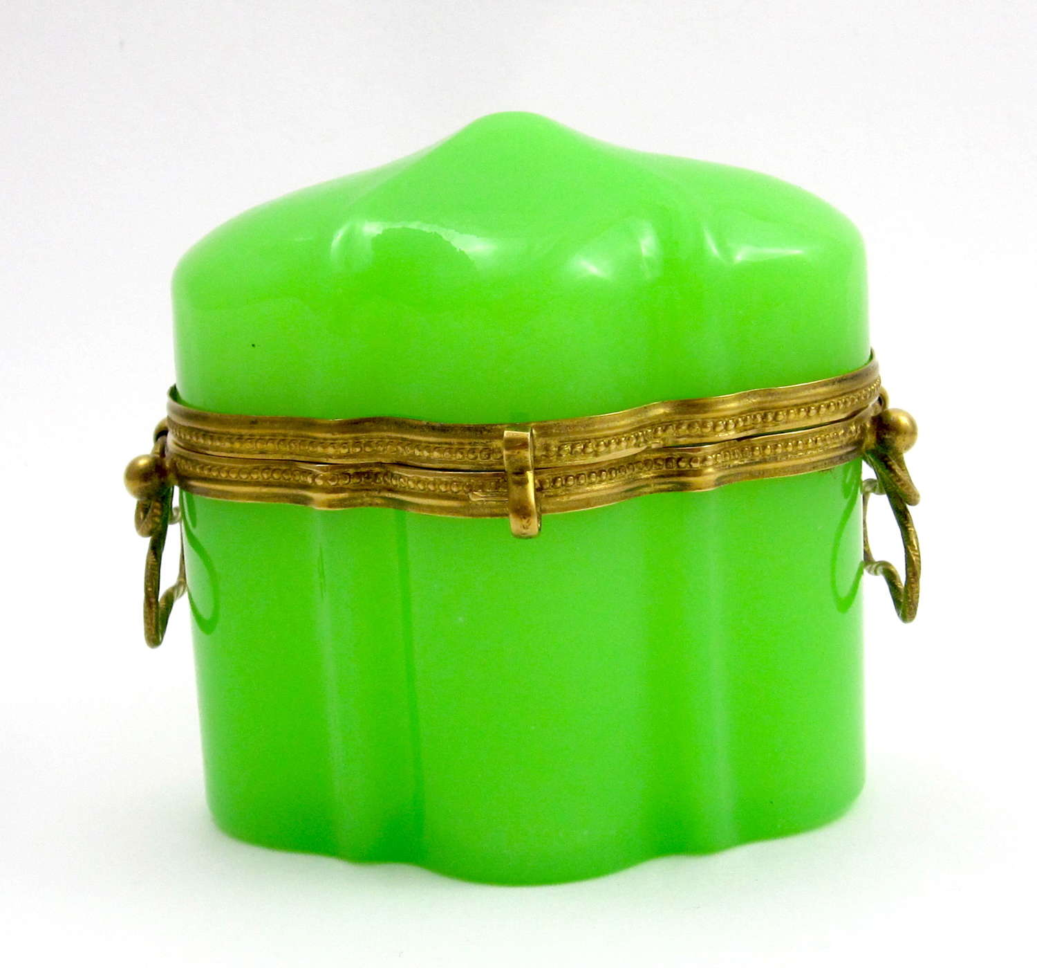 Antique French GreenOpaline Glass Casket with Unusual Dome Lid.