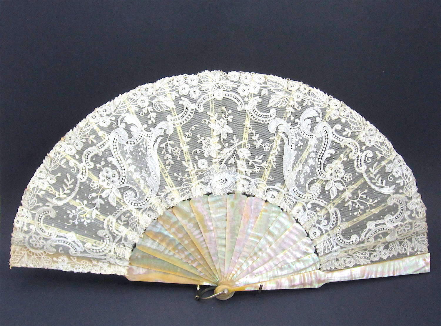 Antique Hand Made Lace Fan with Mother of Pearl Sticks