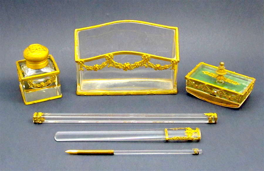 Rare Antique French Empire 6 Piece Crystal and Dore Bronze Writing Set