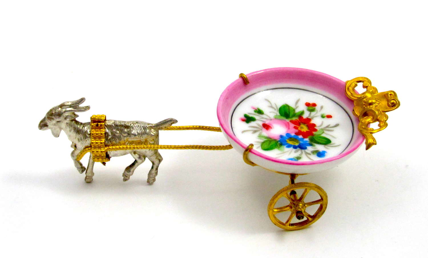 Antique Palais Royal Goat Cart with Hand Painted Porcelain Ring