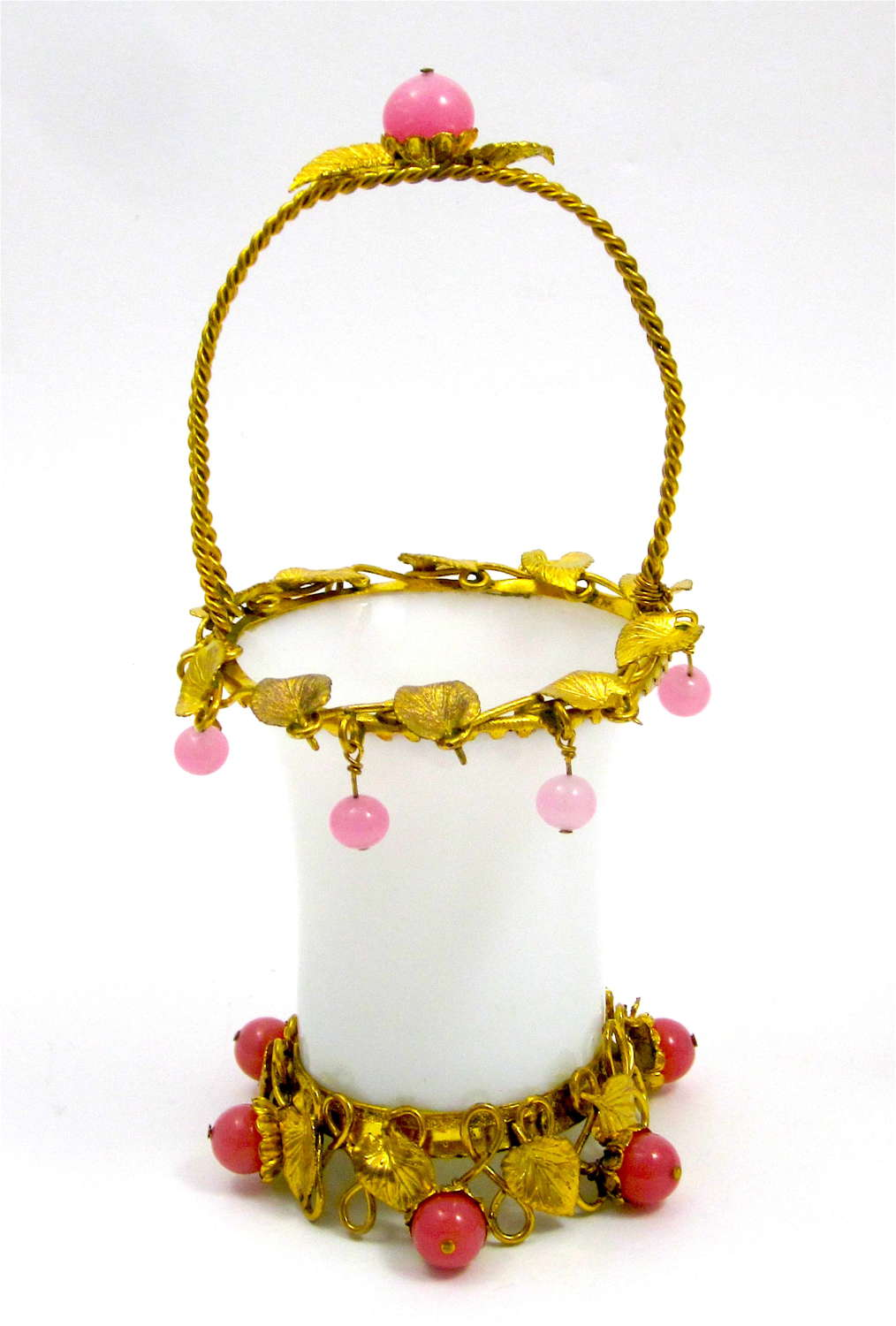 Antique Palais Royal White Opaline Glass Basket with Opaline Baubles