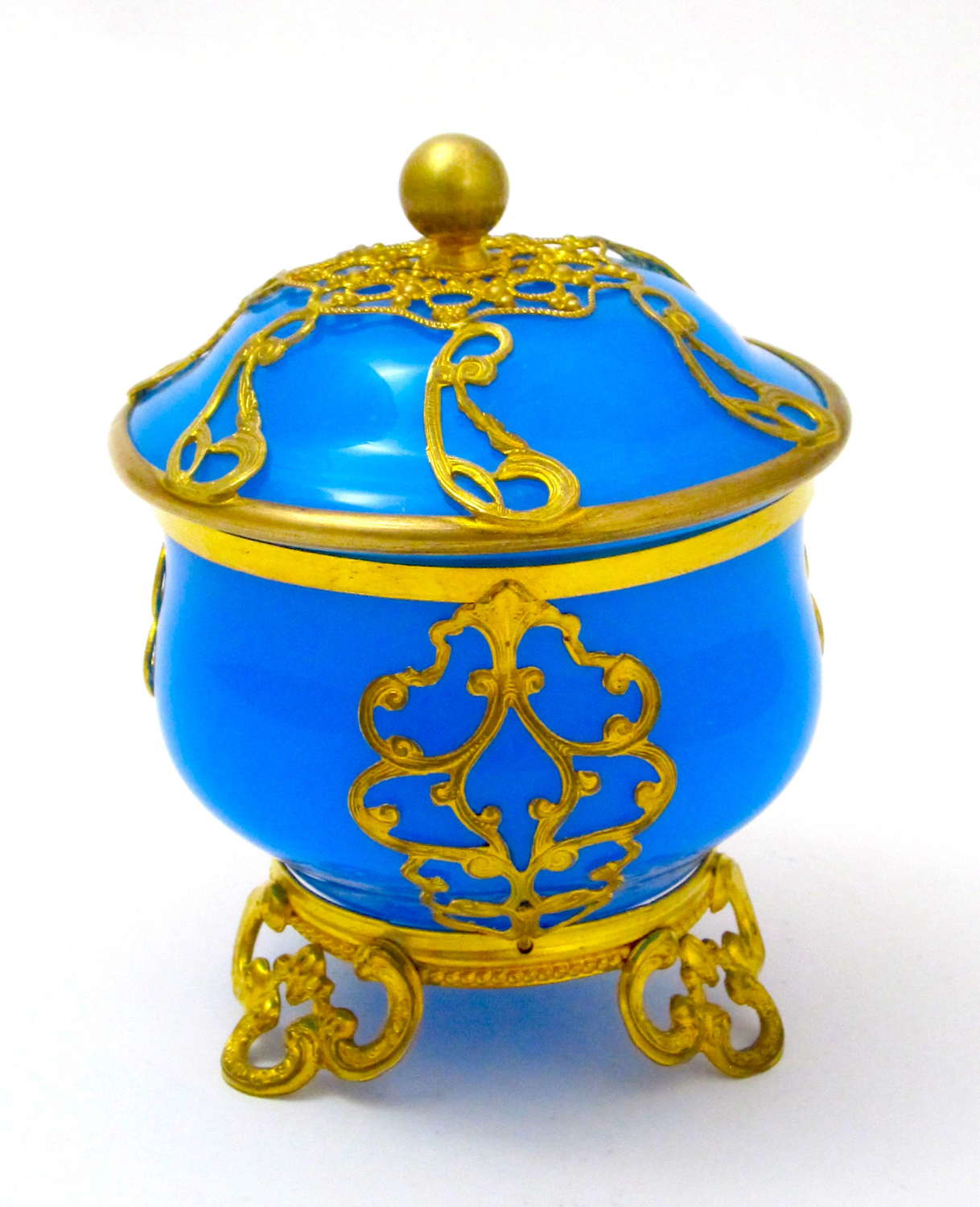 Antique French Blue Opaline Glass Box and Cover