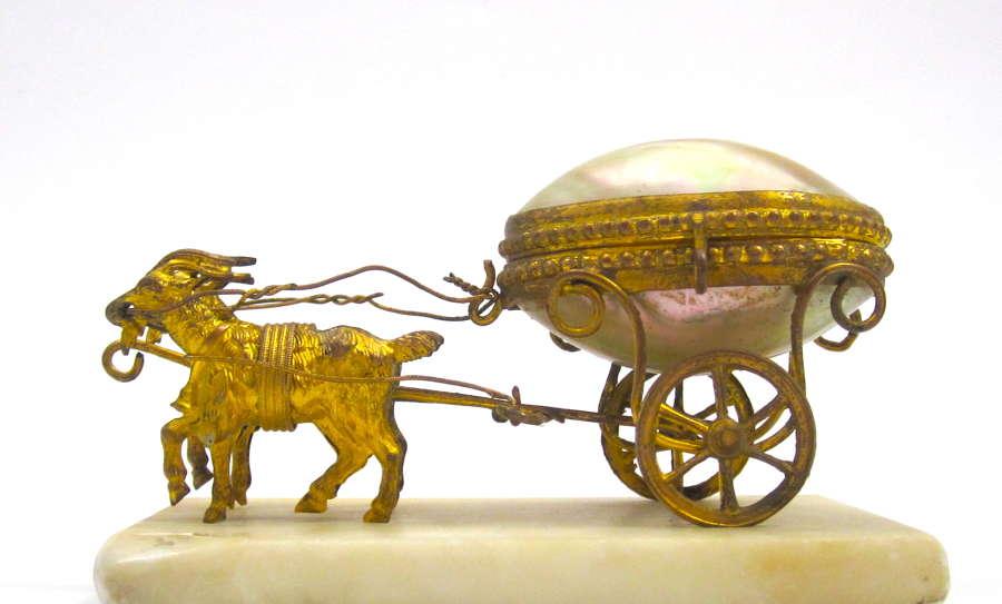 Antique Palais Royal Mother of Pearl Egg Cart Thimble Holder