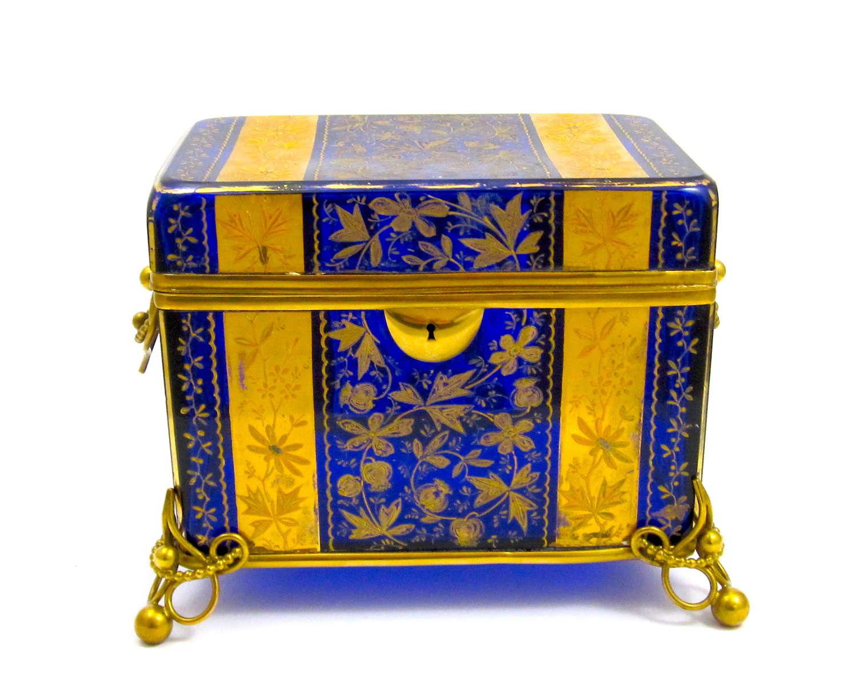 Stunning Extra Large Antique MOSER Cobalt Blue Glass Casket Box