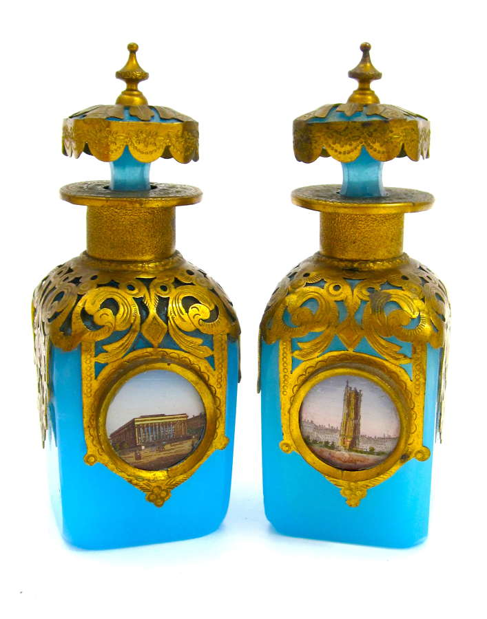 Pair of Antique Palais Royal Blue Opaline Perfume Bottles