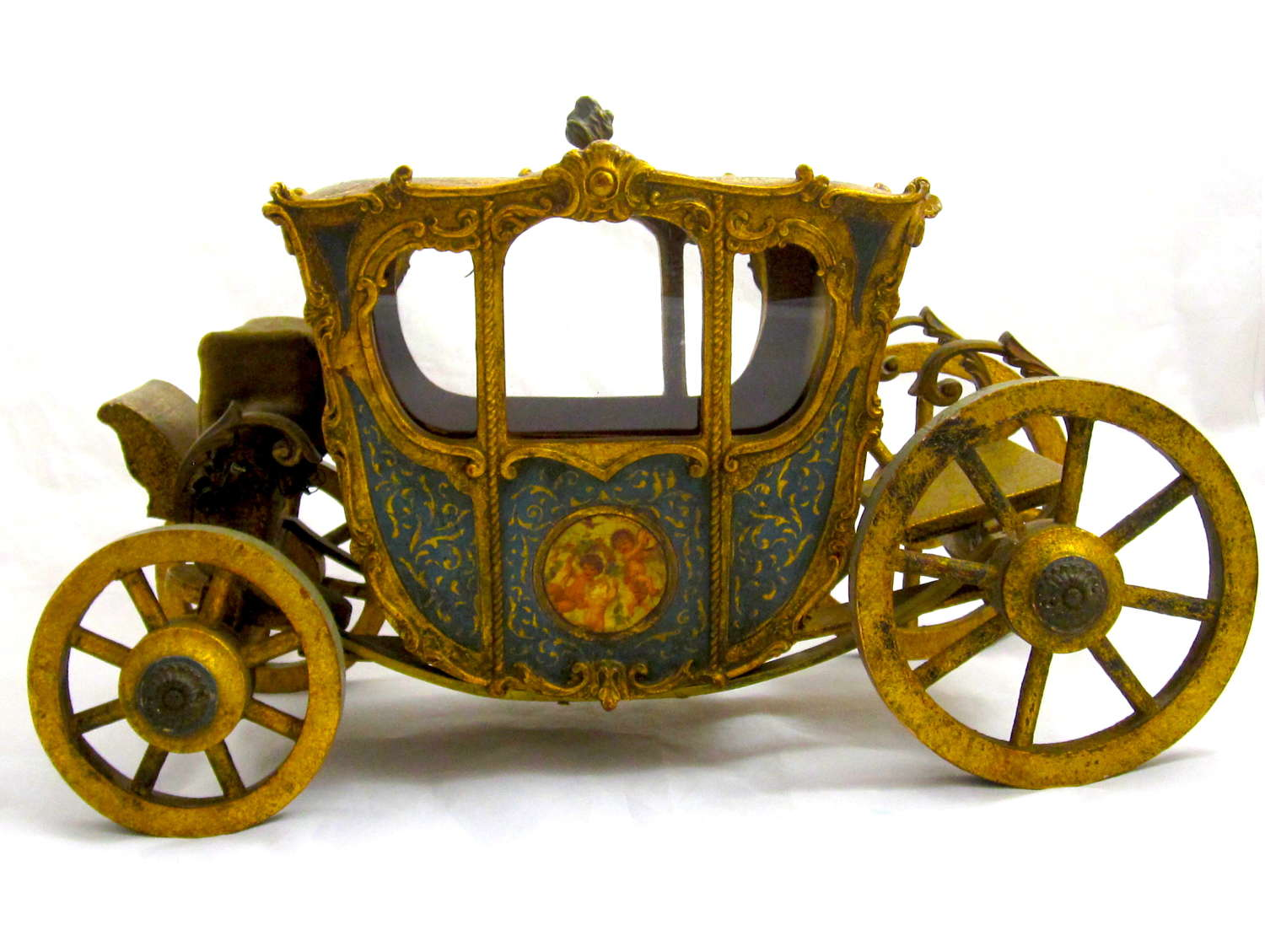Rare and Beautiful Antique Marquise de Sevigne,Paris,Wooden Carriage
