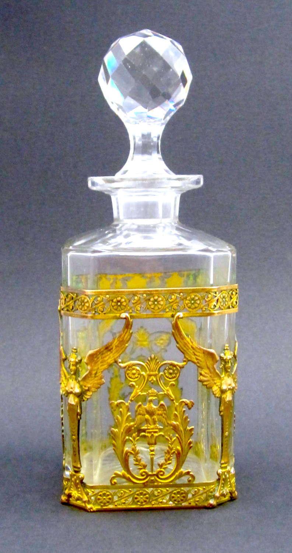 LargeAntique Napoleon III Cut Crystal Perfume Bottle