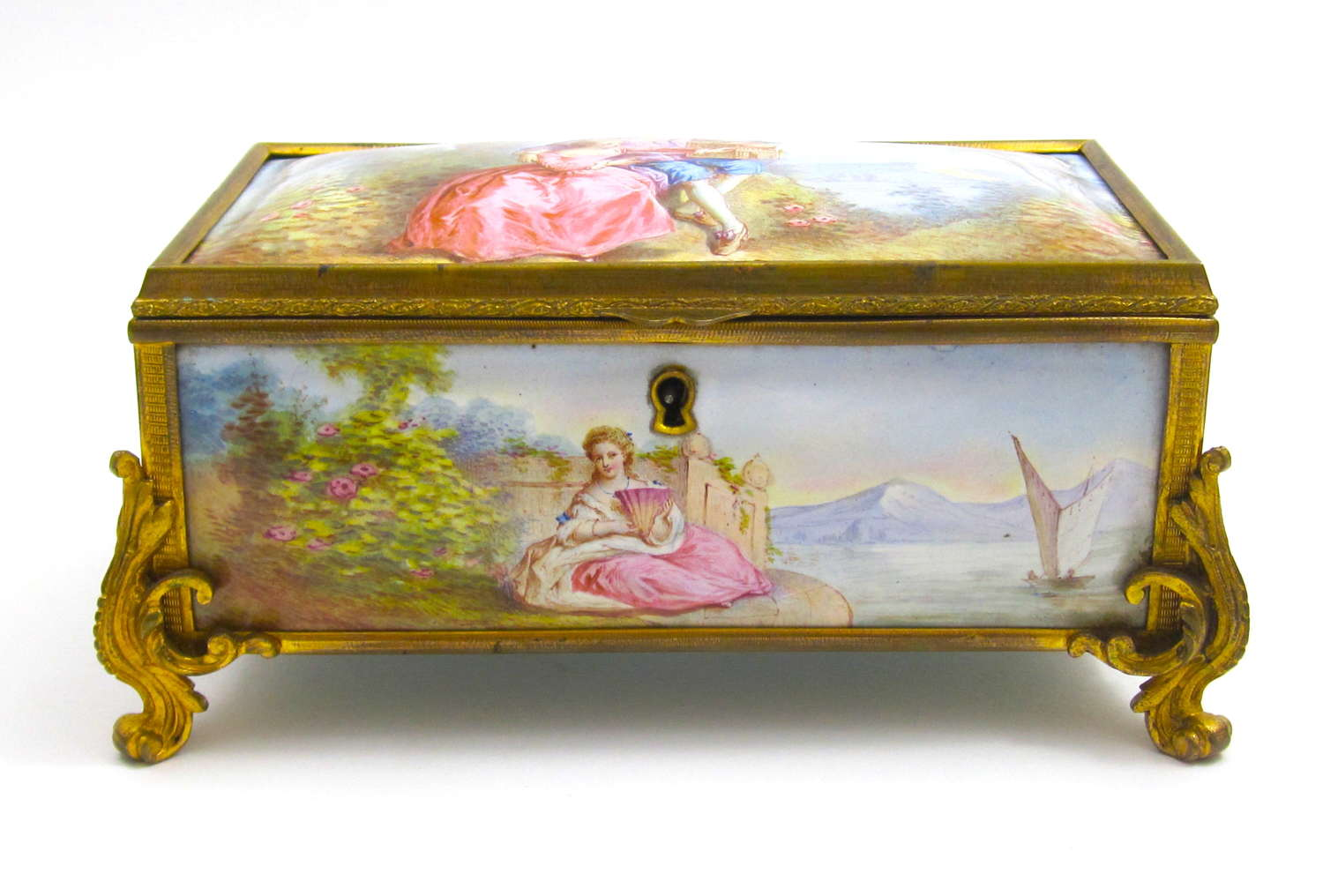 Stunning High Quality Antique French Enamelled Casket