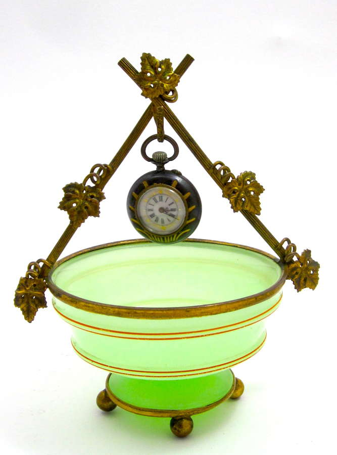 Antique Palais Royal Green Opaline Glass Watch Holder
