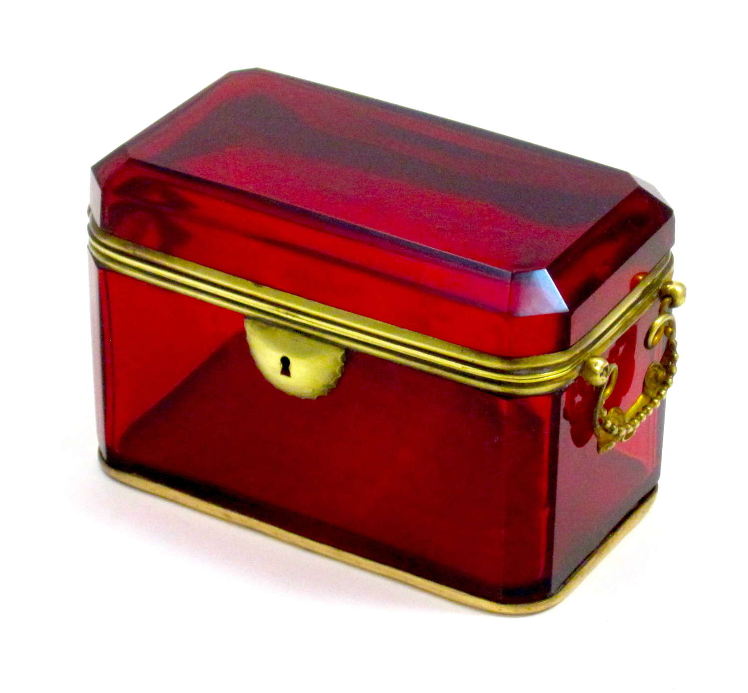 Large Antique French Ruby Red Glass Casket with Dore Bronze Mounts