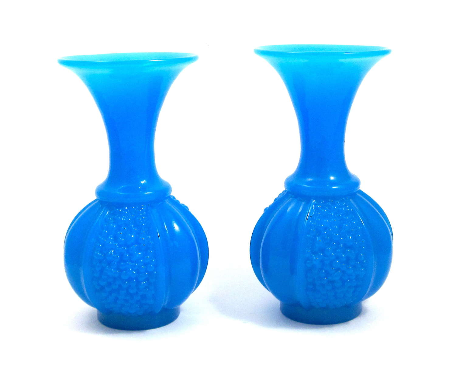 Pair French St Louis Blue Oplaine Glass Vases