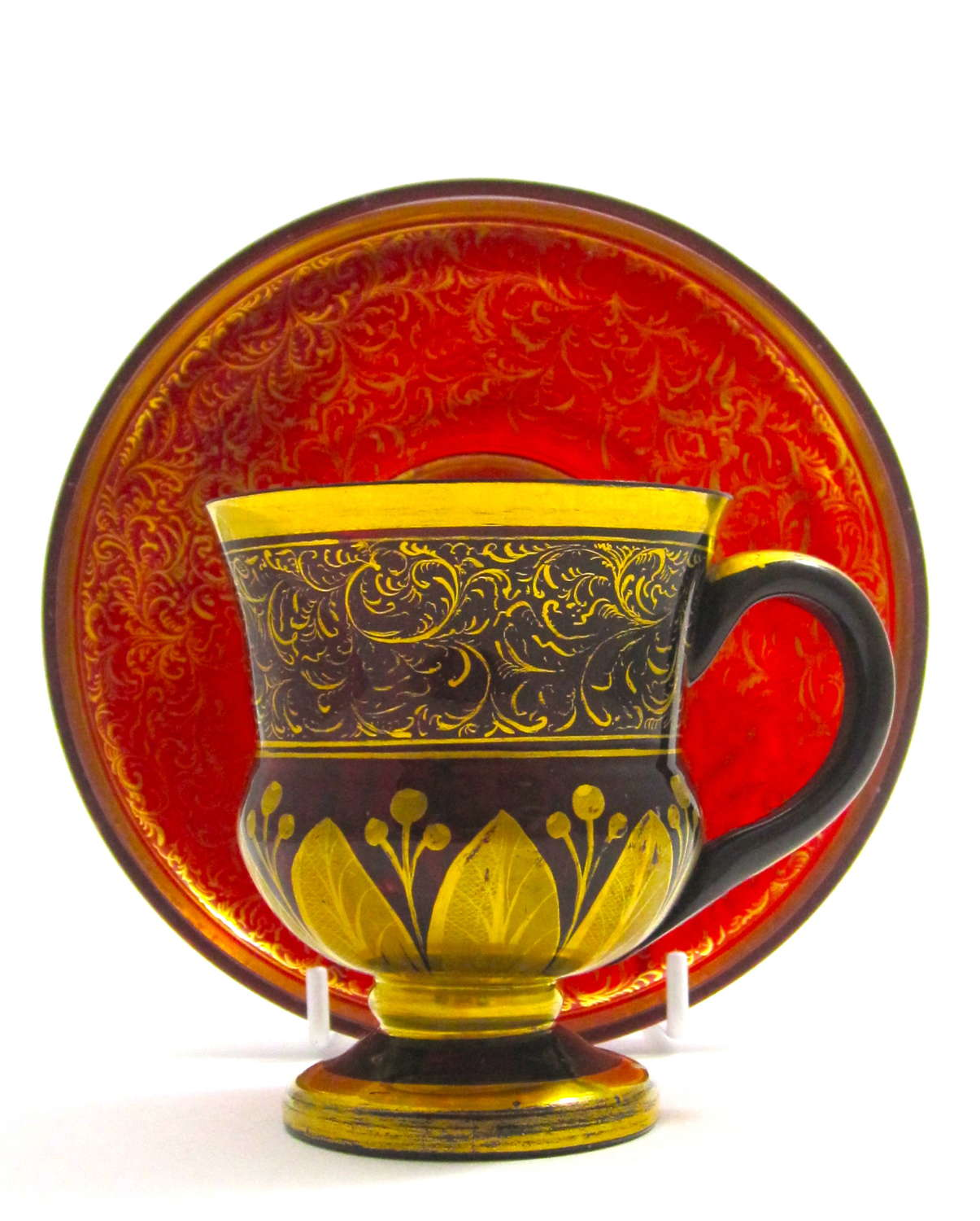 Antique Bohemian Deep Ruby Red and Gold Enamel Cup and Saucer