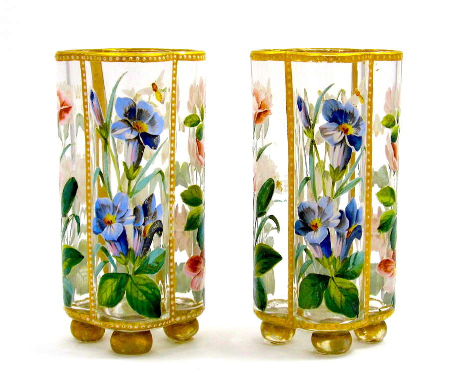 Pair of Exceptional Antique Moser Glass Vases