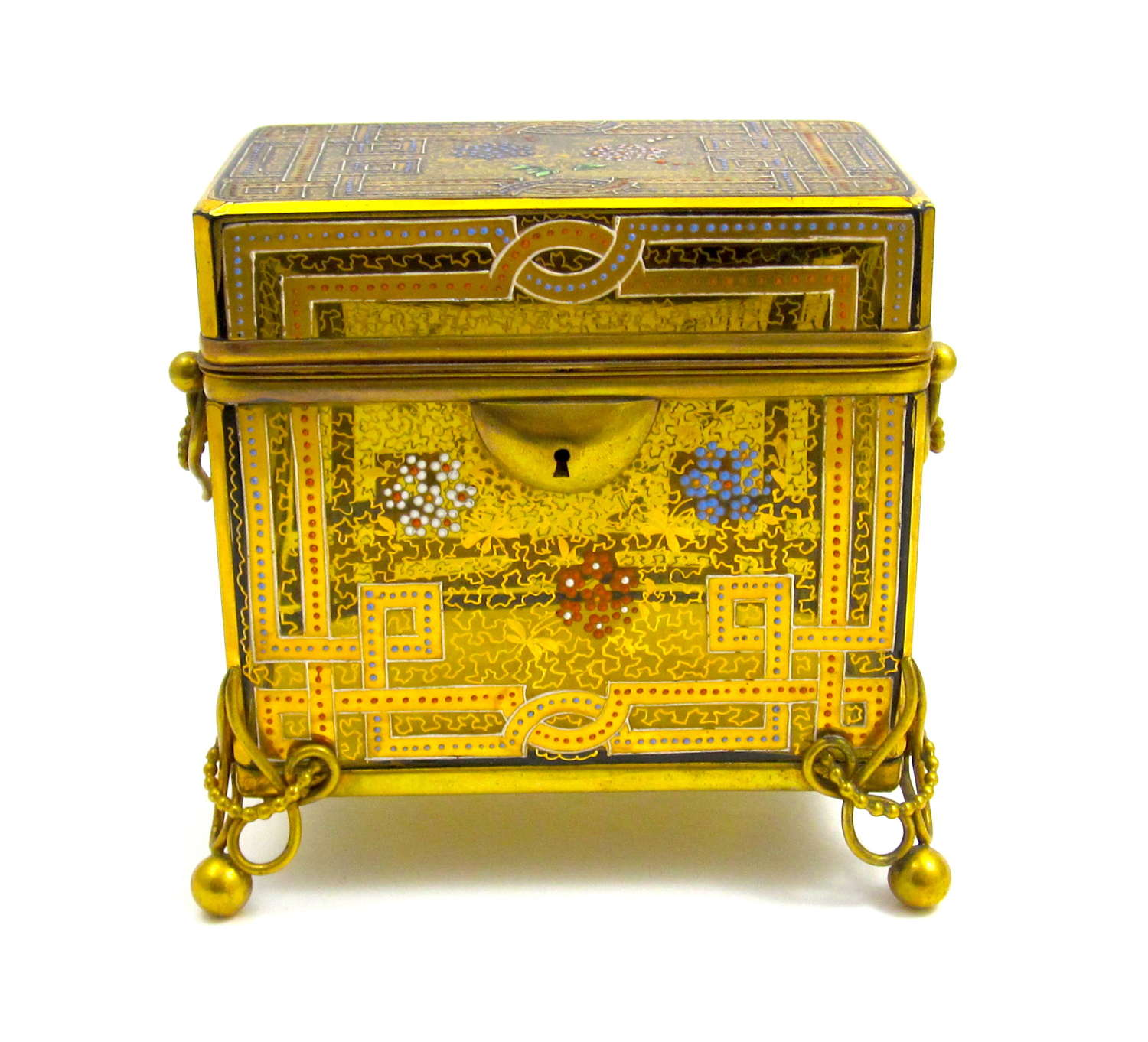 Antique Moser Amber Glass Casket Box with Enamelled Decoration