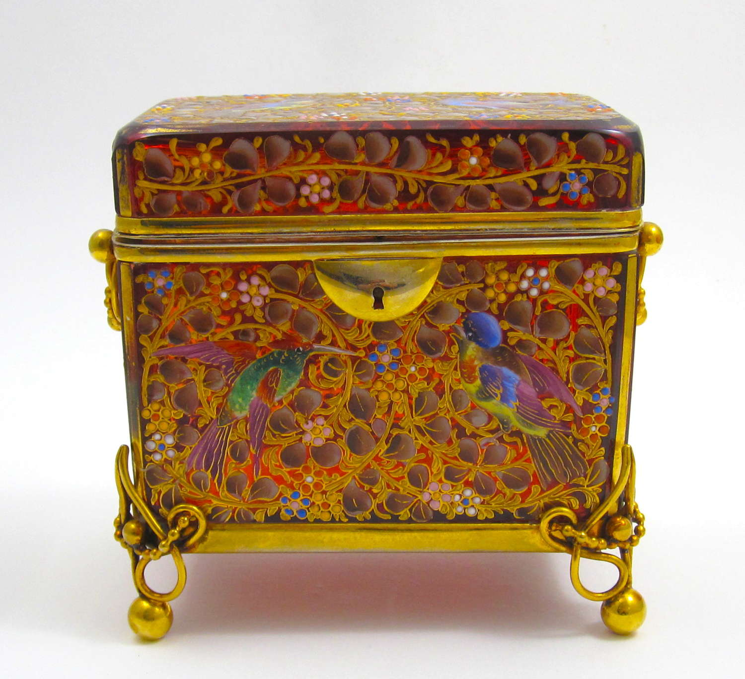 Antique Moser Casket Box Enamelled with Colourful Birds and Flowers