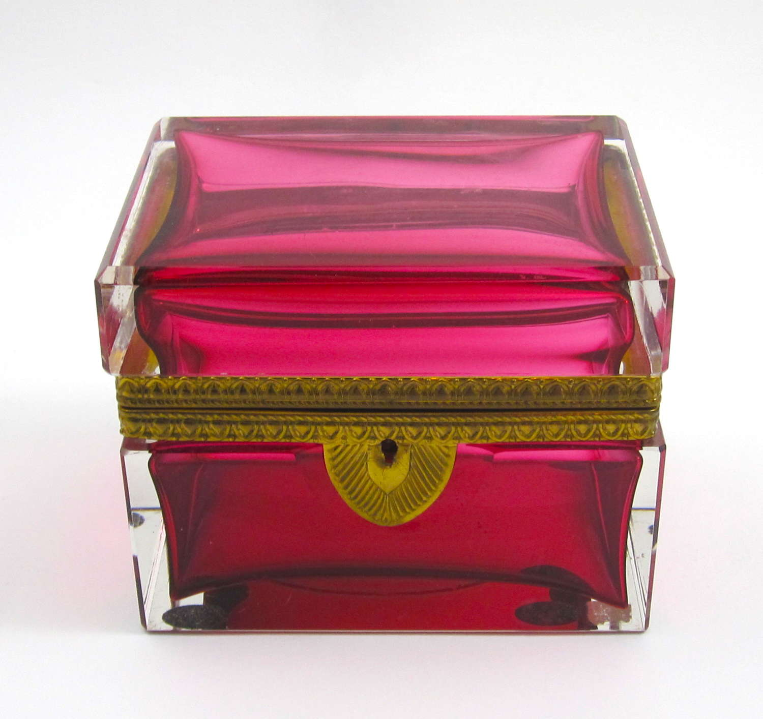 Large Antique BACCARAT Cranberry Glass Casket Box