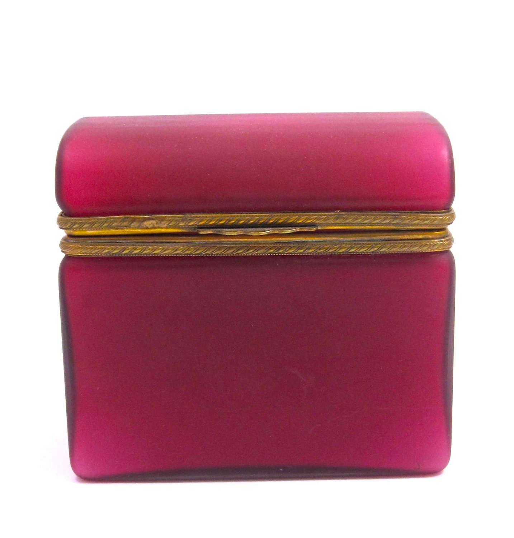 Super Antique Pink Opaline Overlay Glass Casket Box .