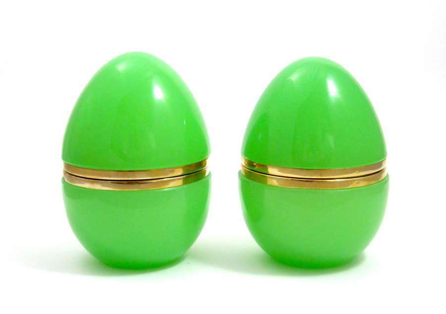 Pair of Large Antique Green Glass Egg Casket Box