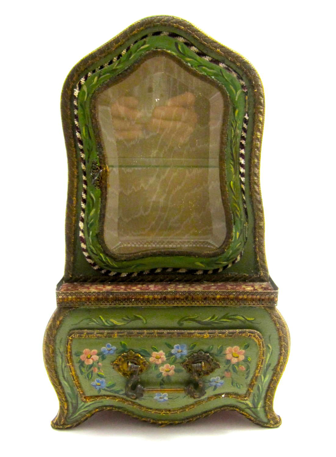 Large Antique French Wooden Hand Painted Display Vitrine
