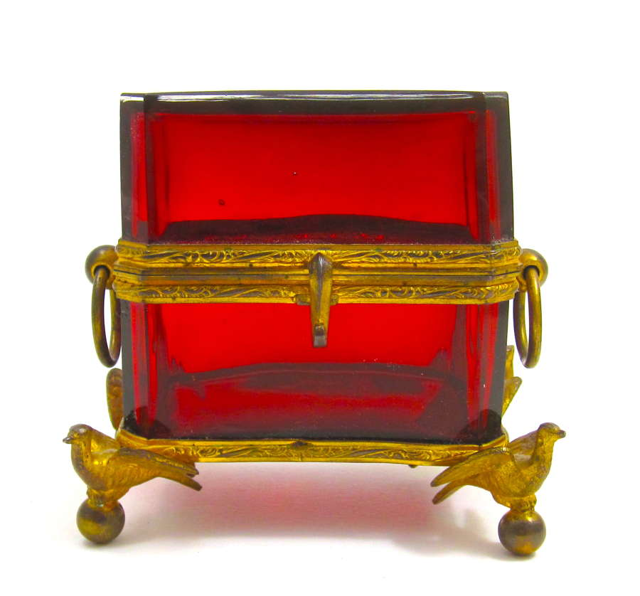 Unusual Antique French Ruby Red Casket Box with Dore Bronze Birds