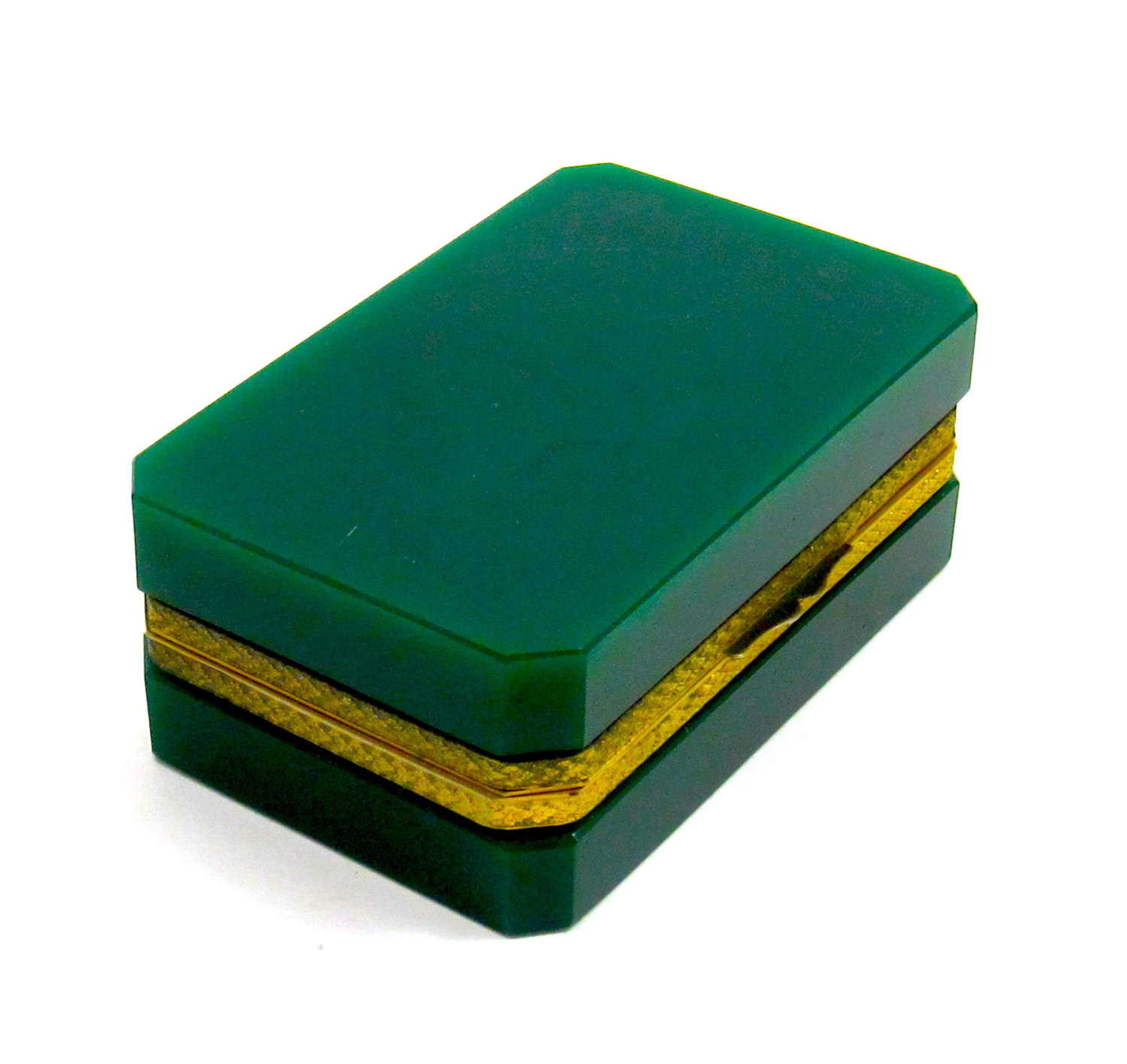 Antique French Forrest Green Opaline Glass Casket Box