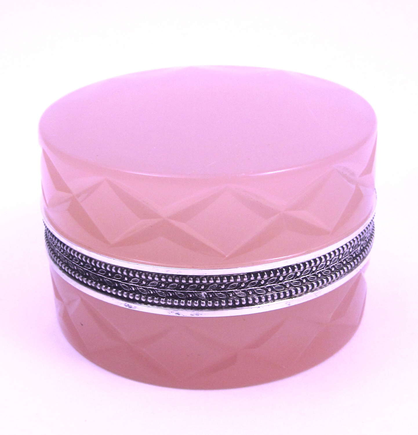 Vintage Pink Opaline Glass Box and Cover