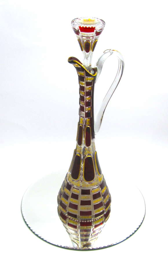 Exceptionally Large Antique Moser Ruby Red and Gold Glass Decanter