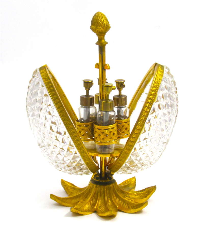 Antique BACCARAT Pineapple Cut Crystal and Dore Bronze Perfume Casket