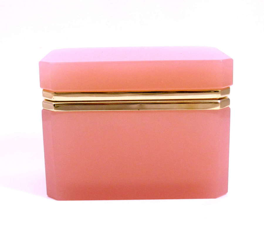Antique Pink Opaline Glass Casket Box with Smooth Mounts