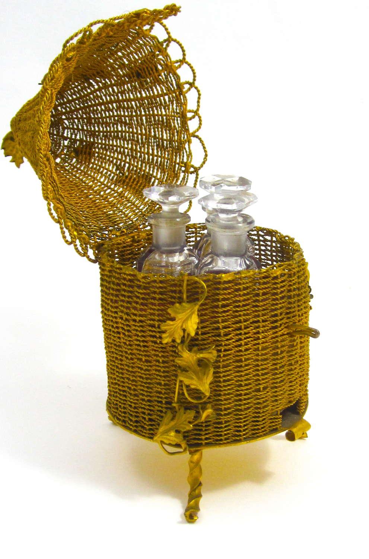 Antique Palais Royal Dore BronzeBee Hive Perfume Bottle Set.