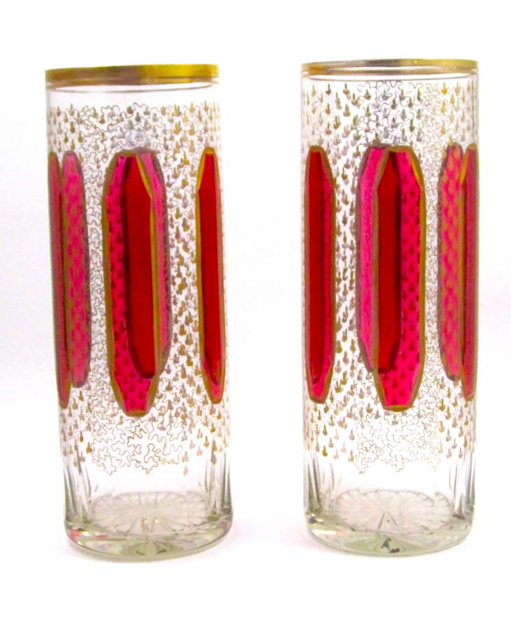 Pair of Antique Bohemian Glass Vases with Ruby Red Cabochon Design.
