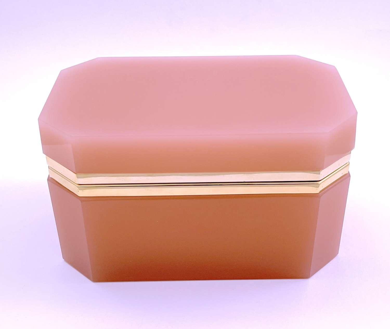 Rare XL Large Antique PinkOpaline Glass Casket Box